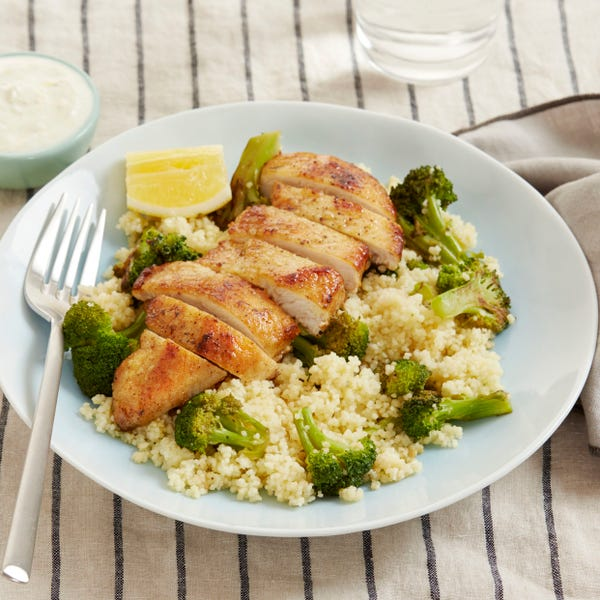 Seared Chicken & Couscous with Broccoli & Lemon-Yogurt Sauce