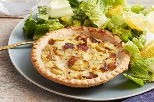 Potato & Artichoke Quiches with Romaine & Orange Salad
