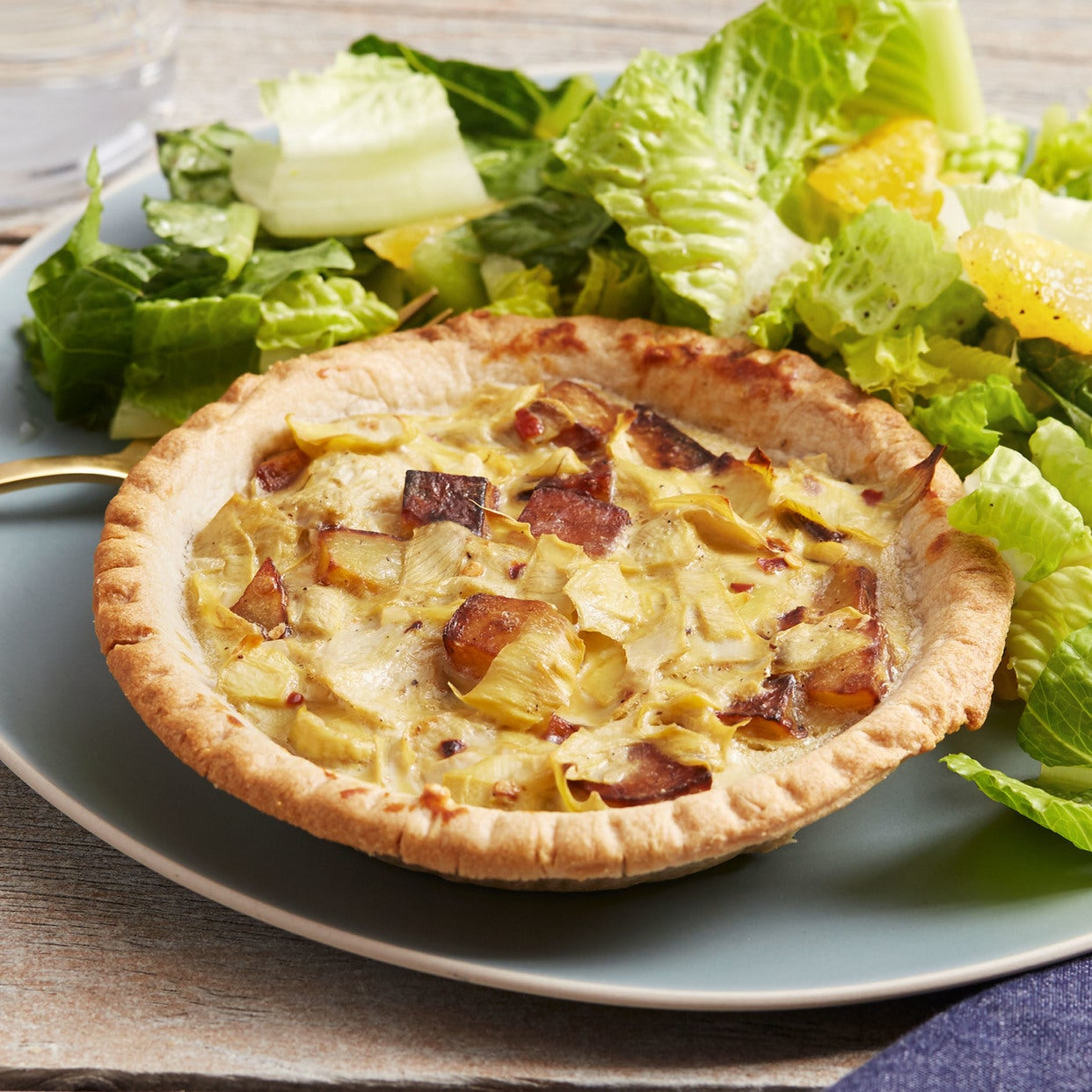 Potato & Artichoke Quiches with Romaine & Orange Salad