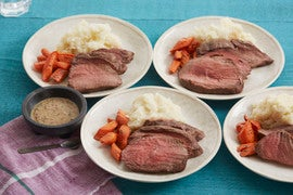 Roast Beef & Carrots with Mashed Potatoes & Dijon Mustard Pan Sauce