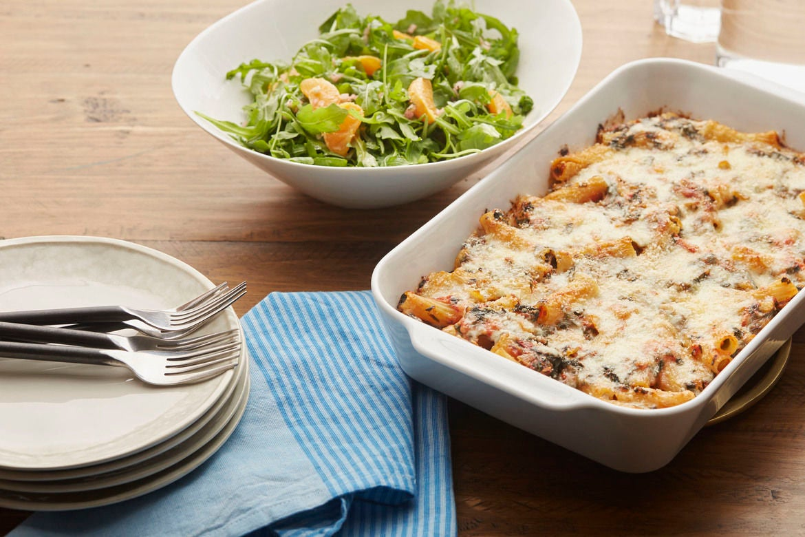 Cheesy Baked Pasta & Spinach with Arugula & Clementine Salad