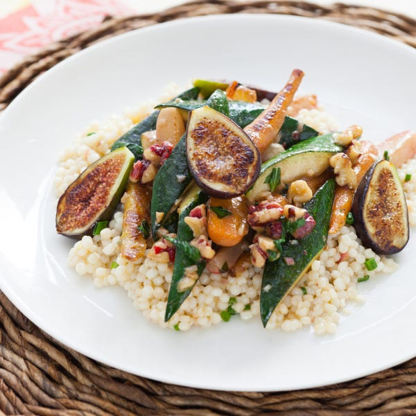 Roasted Vegetable Salad over Israeli Couscous with Toasted Red Walnuts & Sherry Dijon Vinaigrette
