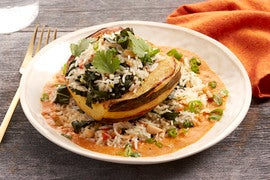 Stuffed Squash & Spicy Red Curry with Collard Greens & Basmati Rice