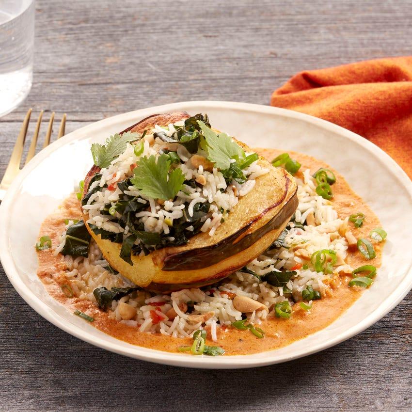 Stuffed Squash & Spicy Red Curry with Collard Greens & Basmati Rice