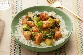 Sesame Chicken with Bok Choy & Jasmine Rice