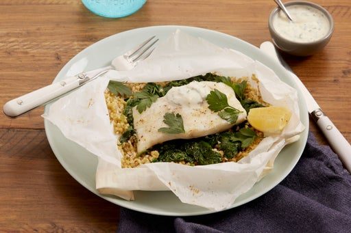 Cod en Papillote with Freekeh & Spinach