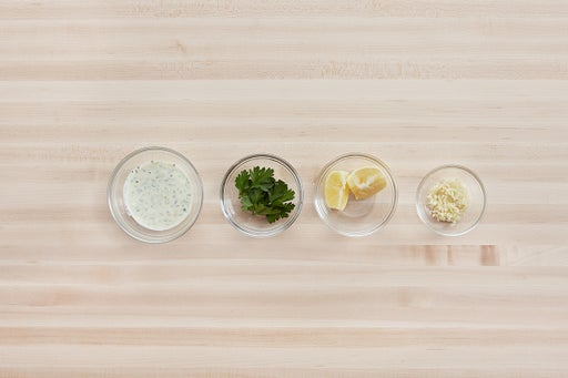 Prepare the ingredients & make the herb sauce: