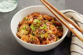 Spicy Shrimp & Korean Rice Cakes with Cabbage & Furikake