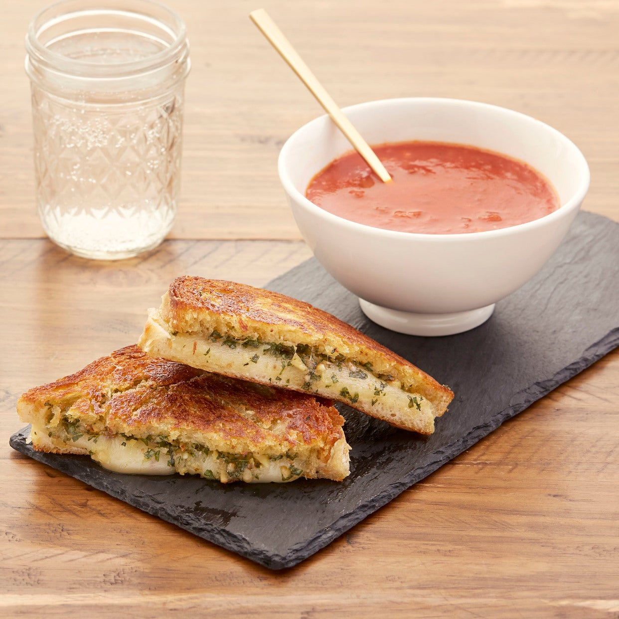 Pesto Grilled Cheese Sandwiches with Spicy Tomato Soup