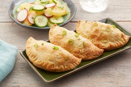 Jamaican-Style Vegetable Turnovers with Marinated Orange Salad
