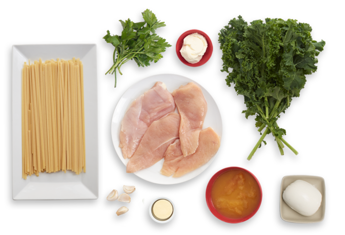 Baked Mozzarella Chicken with Yellow Tomato Sauce, Kale & Fettuccine ingredients