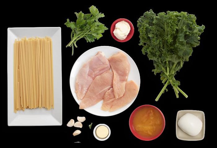 Baked Mozzarella Chicken with Yellow Tomato Sauce, Kale & Fettuccine