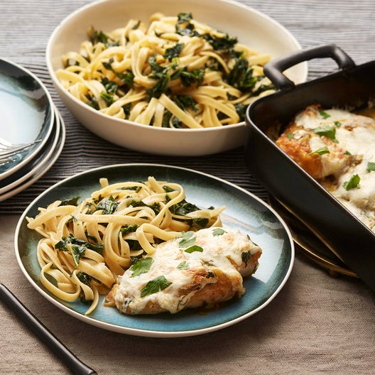 Baked Mozzarella Chicken with Yellow Tomato Sauce, Kale & Fettuccine