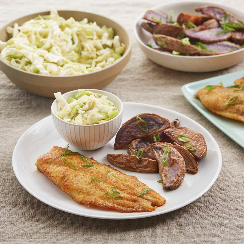 Paprika-Spiced Catfish with Cabbage Slaw & Roasted Purple Potato Wedges