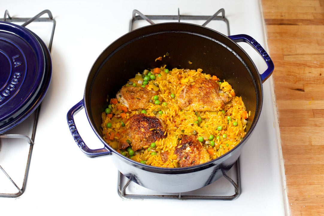 Add the rice & simmer:
