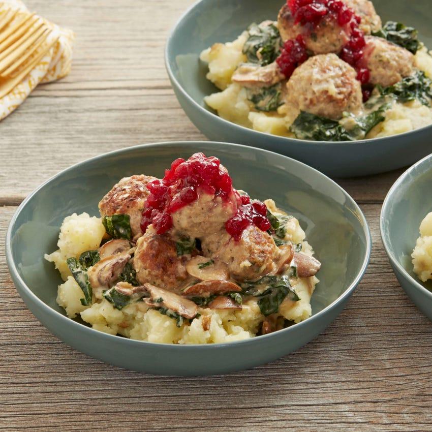 Swedish Meatballs & Mushroom Gravy with Mashed Potatoes & Lingonberry Jam