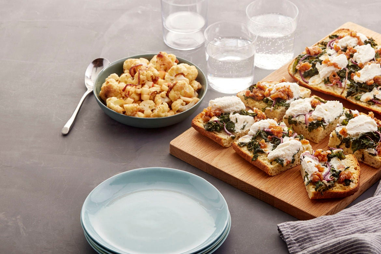 Blue apron cauliflower pizza - Mozzarella Ricotta Focaccia Pizzas With Fig Jam Roasted Cauliflower