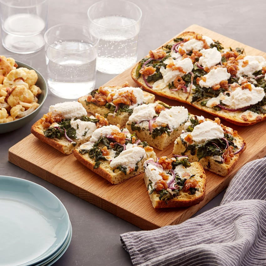 Mozzarella & Ricotta Focaccia Pizzas with Fig Jam & Roasted Cauliflower