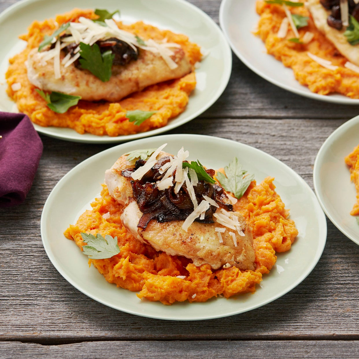Seared Chicken & Mashed Sweet Potatoes with Balsamic-Caramelized Onion