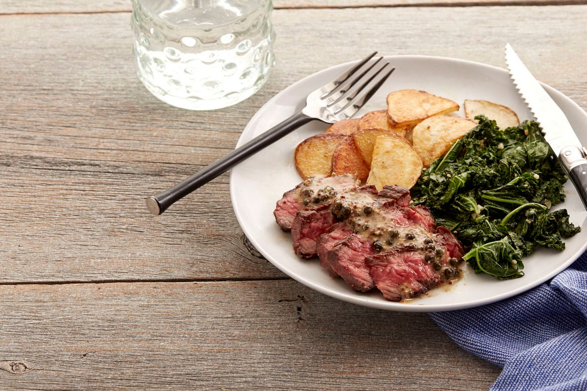 Recipe: Steaks & Green Peppercorn Sauce with Kale & Roasted Potato ...