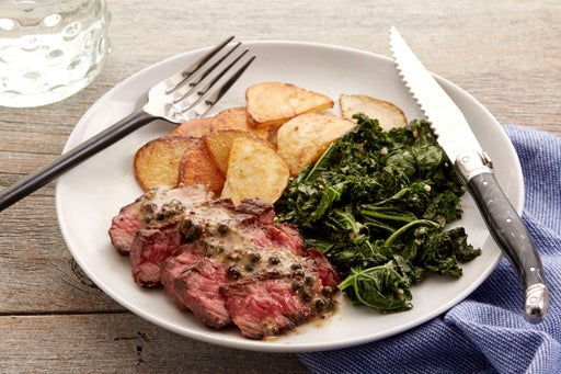 Steak & Green Peppercorn Sauce with Kale & Roasted Potato