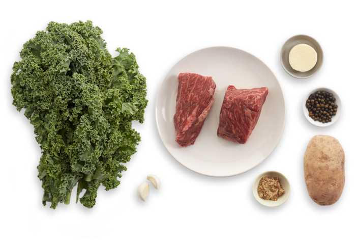 Steaks & Green Peppercorn Sauce with Kale & Roasted Potato ingredients