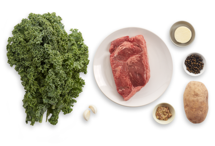 Steak & Green Peppercorn Sauce with Kale & Roasted Potato ingredients