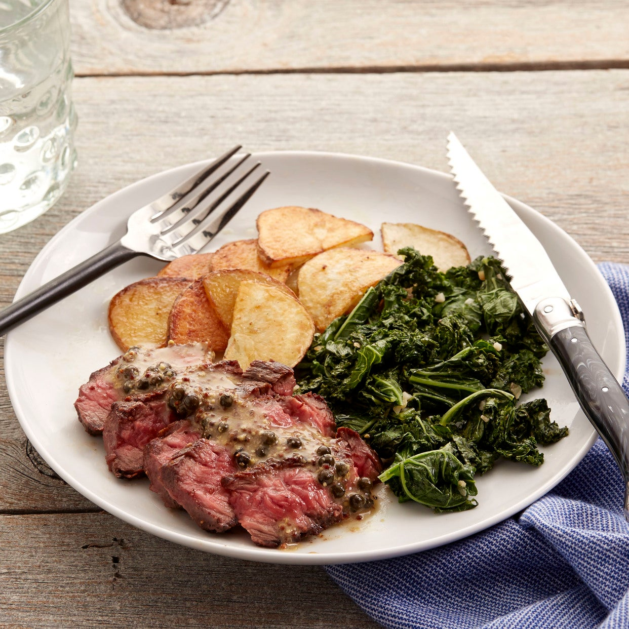 Steak & Green Peppercorn Sauce with Kale & Roasted Potato