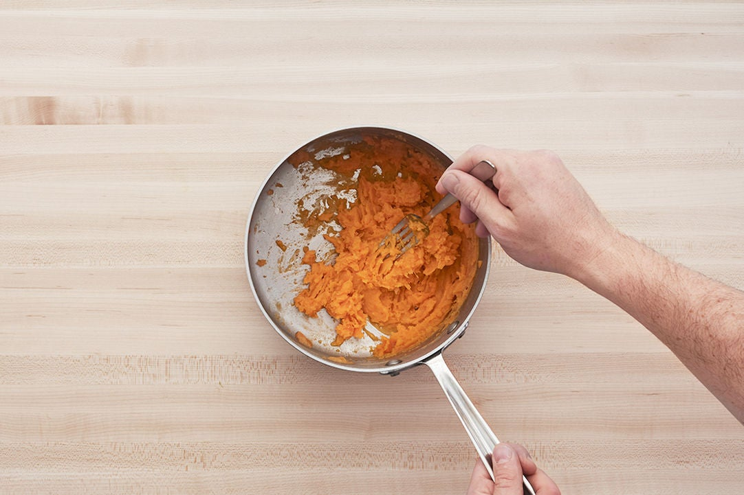 Cook & mash the sweet potatoes: