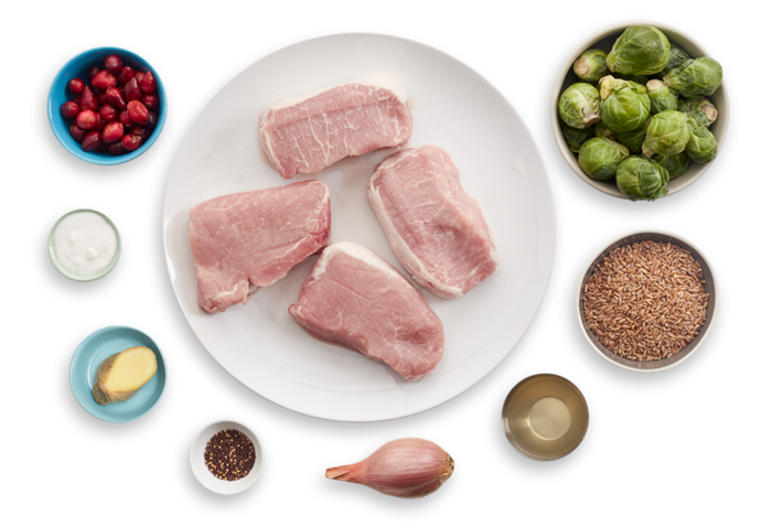 Seared Pork Chops with Farro, Brussels Sprouts & Cranberry Chutney ingredients