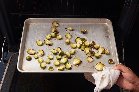 Roast the Brussels sprouts & finish the farro: