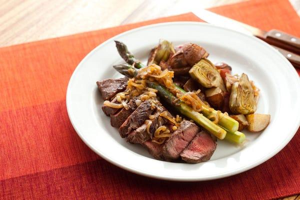 Flat Iron Steaks with Artichoke-Potato Hash, Purple Asparagus & Caramelized Shallots