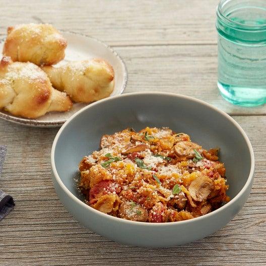 Spaghetti Squash Marinara with Mushrooms & Garlic Knots