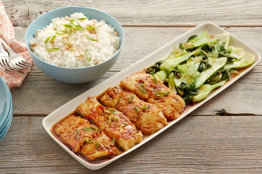 Honey-Soy Cod with Ginger Bok Choy & Rice