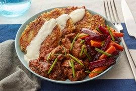 Sautéed Beef & Potato Latkes with Roasted Beet & Carrots