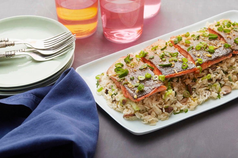 Orange & Soy-Glazed Salmon with Mushroom & Red Choi Fried Rice