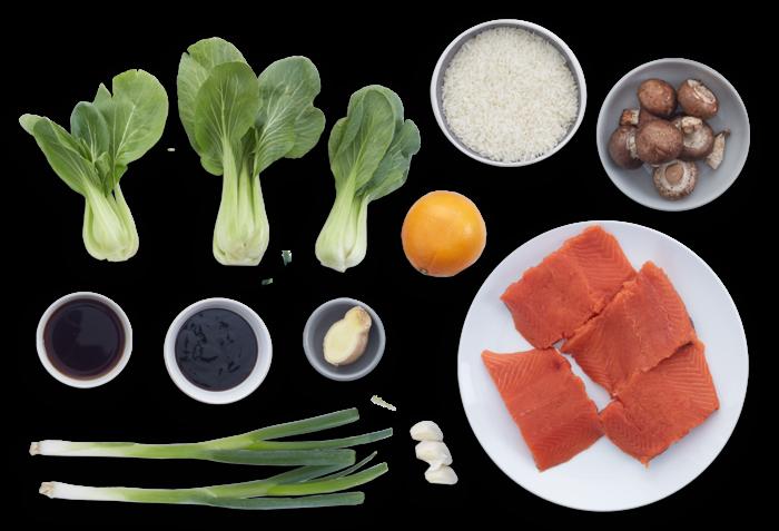 Orange & Soy-Glazed Salmon with Mushroom & Red Choi Fried Rice ingredients