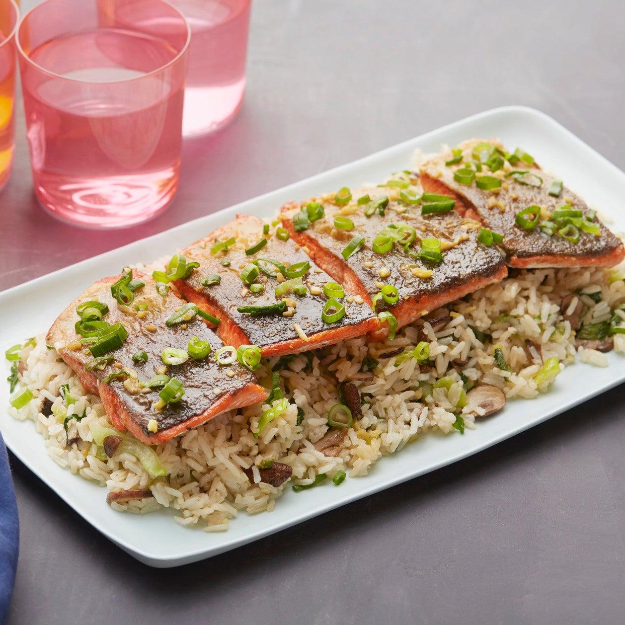 Orange & Soy-Glazed Salmon with Mushroom & Bok Choy Rice