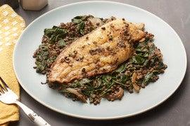 Lemon-Caper Catfish with Spiced Lentils & Collard Greens