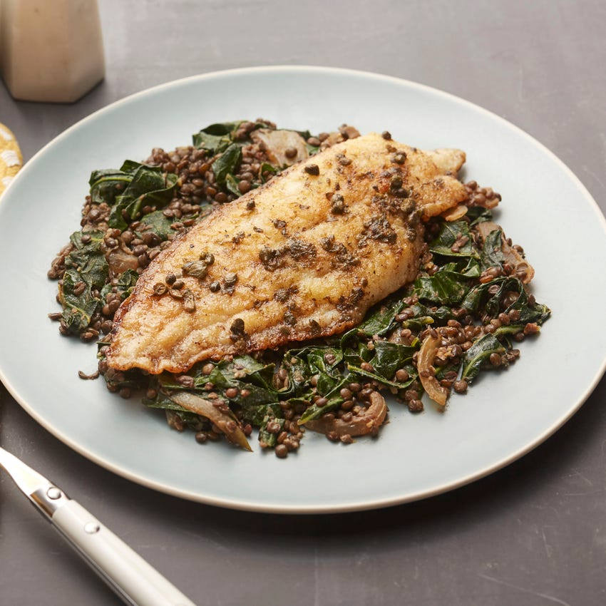 Lemon-Caper Catfish with Spiced Lentils & Collard Greens
