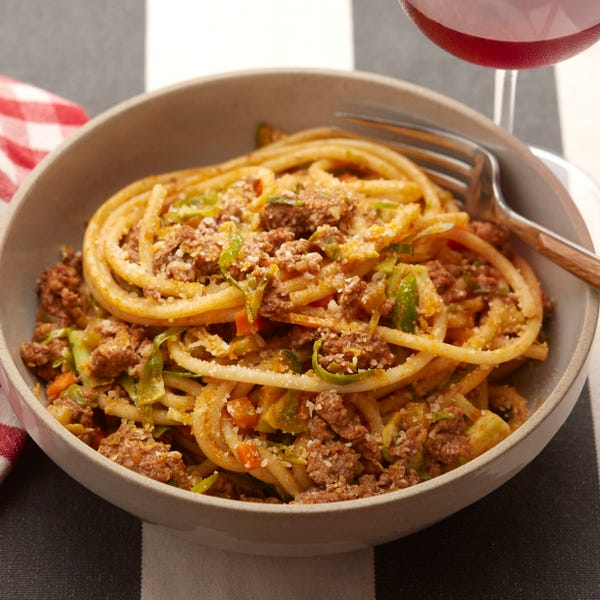 Bucatini Pasta Bolognese with Brussels Sprouts