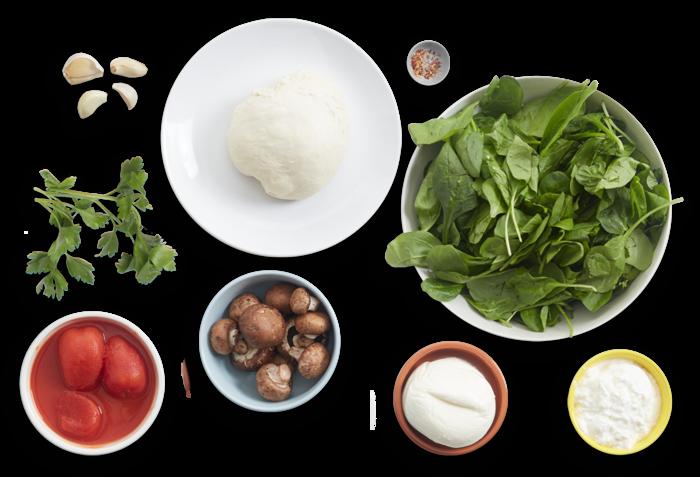 Mushroom & Spinach Stromboli with Fresh Mozzarella & Tomato Sauce ingredients