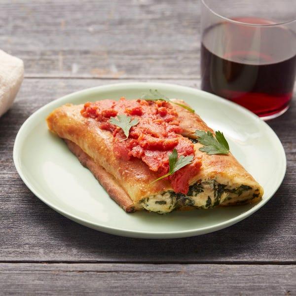 Mushroom & Spinach Stromboli with Fresh Mozzarella & Tomato Sauce