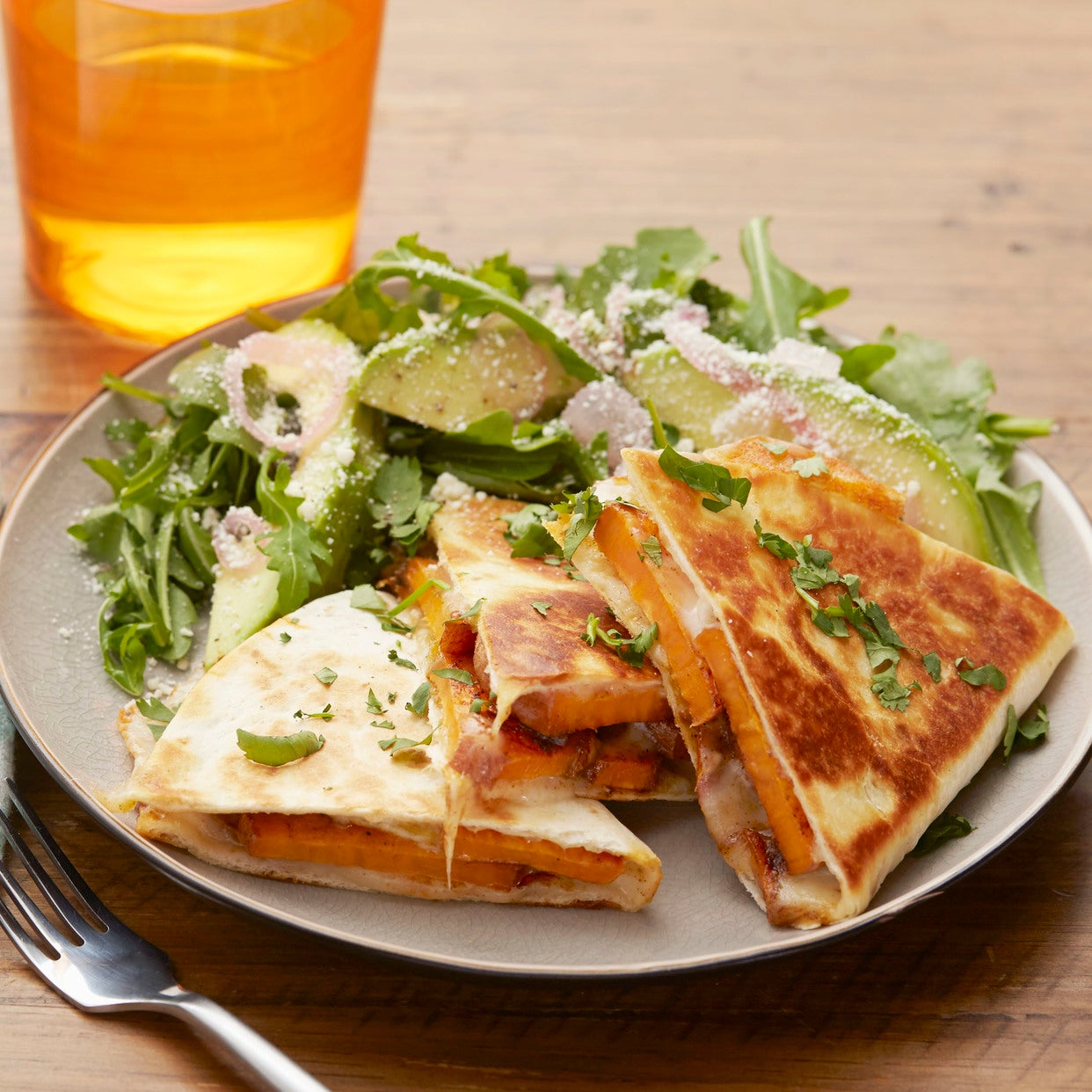 Sweet Potato & Green Chile Quesadillas with Arugula & Avocado Salad