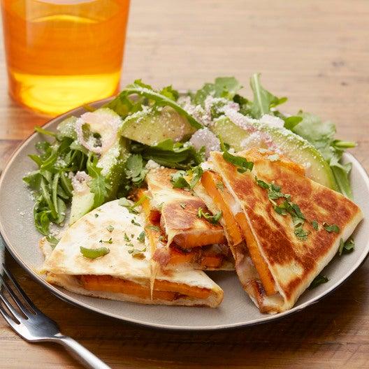 Sweet Potato & Green Chile Quesadillas with Arugula & Avocado Salad