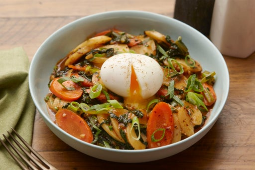 Spicy Korean Rice Cakes with Yu Choy & Soft-Boiled Eggs