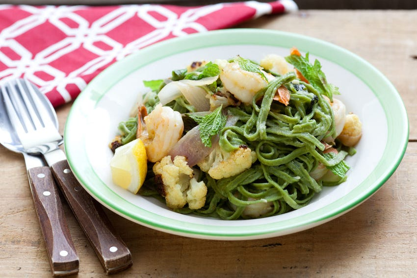Nettle Pasta with Shrimp & Roasted Cauliflower