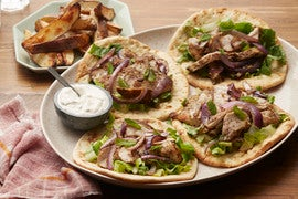 Za'atar Chicken Souvlaki with Tahini-Yogurt Sauce & Roasted Potatoes
