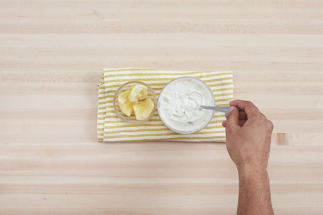 Make the tahini-yogurt sauce: