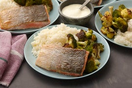 Crispy Salmon with Roasted Broccoli & Meyer Lemon Aioli